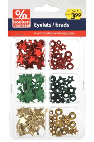 Eyelets/Brads Kerst Rood-Groen