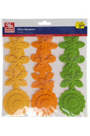 Vilten bloemen Spring Geel-Oranje