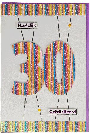 Kaart (820) Hartelijk Gefeliciteerd 30
