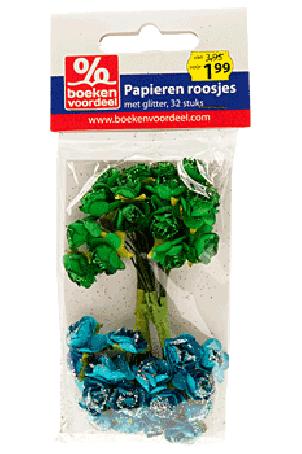 Papieren Roosjes Groen-Zilver