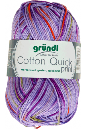 Cotton quick print lila-groen-oranje multicolor 50 gram
