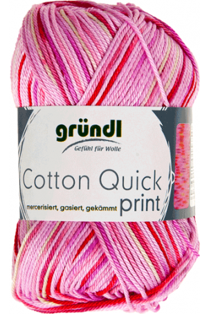 Cotton quick print 193 roze-fuchsia multicolor 50 gram