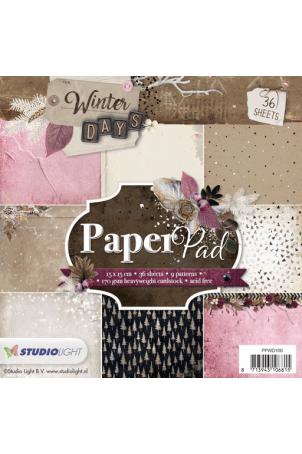 Winter days paper pad 15x15cm nr 100 roze bruin oktober 2018