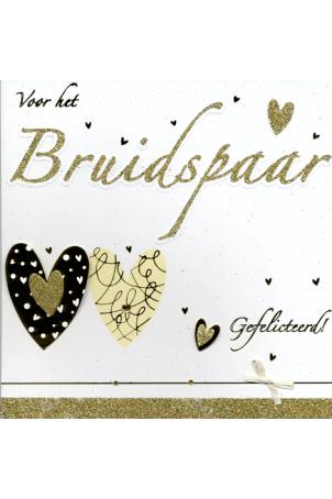 Kaart Voor het Bruidspaar Gefeliciteerd! Hartjes en strik Luxe wenskaart met glitter en strik