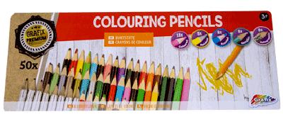 50 kleurpotloden in blik