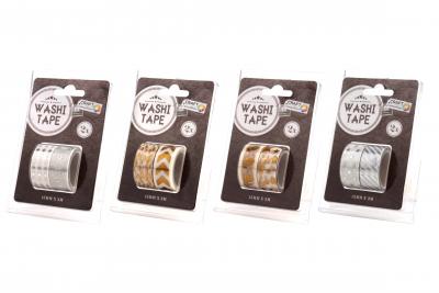 Washi Tape Gouda Zilver 2st 15mmx3mtr 4ass
