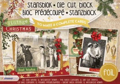 Stansblok A5 vintage christmas 6 kaarten met folie opdruk