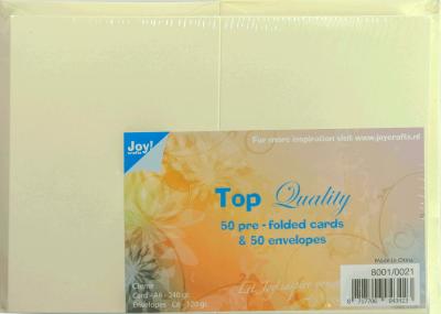 Joy kaarten 50st creme 240gr en enveloppen 120gr C6