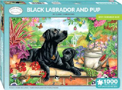 Legpuzzel Zwarte labrado met pup 1000 stukjes