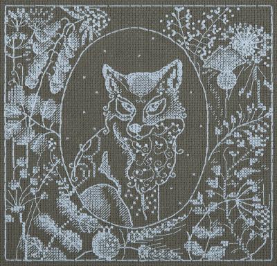 Borduurpakket White Lace Fox 16x16,5cm Panna