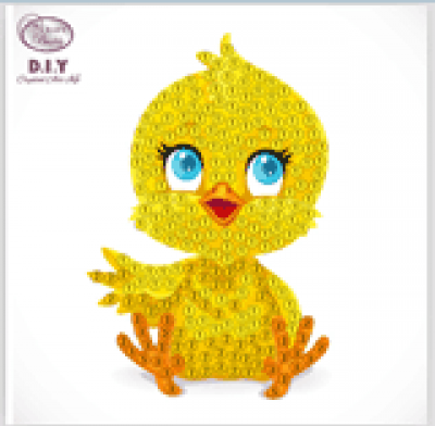 Crystal motif sticker kit cute chick with tool