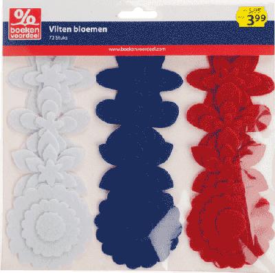 Vilten Bloemen Maritiem Rood-Wit-Blauw
