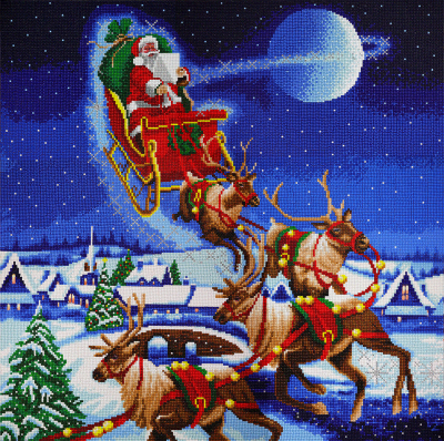 Crystal art kit partial diamond painting Santa's journey