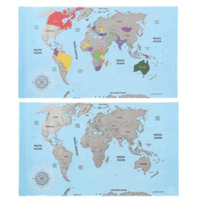 Wereld Kraskaart 88 x 52 cm