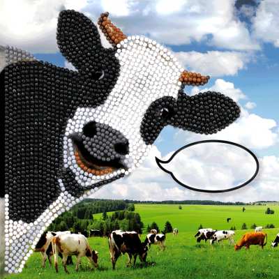 Crystal Card kit IT1 funny cow 18x18cm