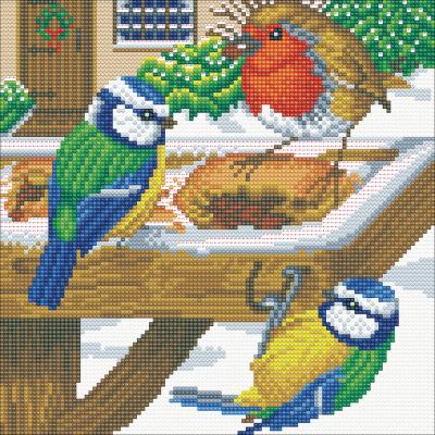 Framed crystal art kit hungry birds