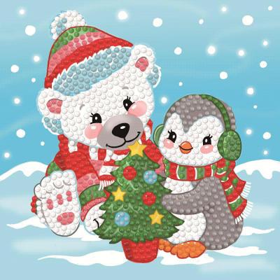 Dotty Designs Diamonds Card ijsbeer met pinguin