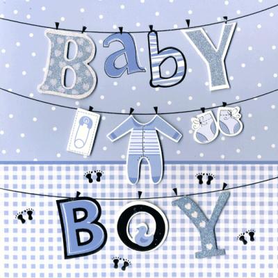 Kaart Baby boy Luxe 3D wenskaart met folie