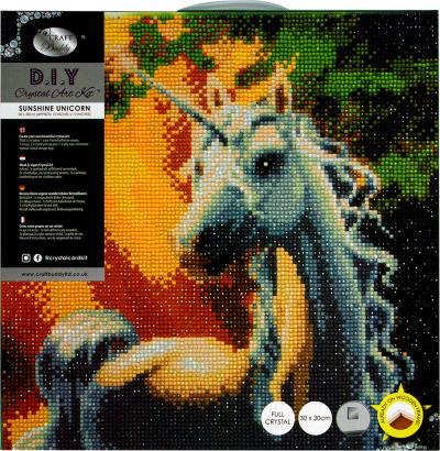 Framed crystal art kit sunshine unicorn 30x30cm CAK-A34