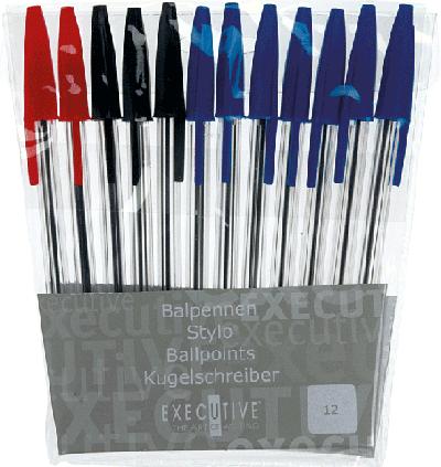 Balpennen Set Blauw/Rood/Zwart  (12 stuks)
