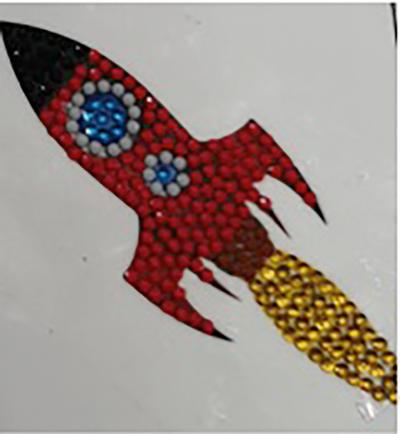 Crystal art motif sticker kit rocket ship