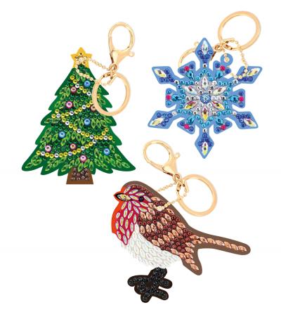 Crystal art keyring set kerstsfeer