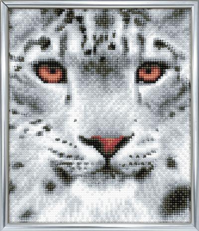 Silver photo frame crystal art snow leopard full