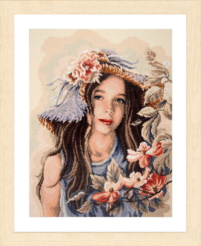 Diamond painting kit meisje met hoed