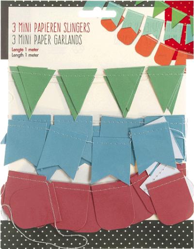 3 mini papieren slingers