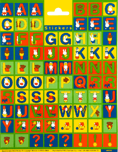 Sticker sheet Nijntje letters