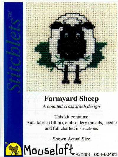 Borduurpakketje Mouseloft Farmyard schaap 5x5cm