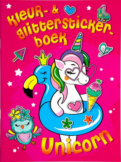Kleur- & glitterstickerboek Unicorn