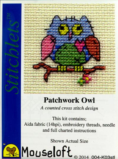 Borduurpakketje Mouseloft Patchwork uil 5x5cm