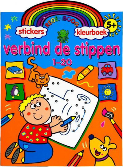 Stickers regenboog kleurboek verbind de stippen 1-20