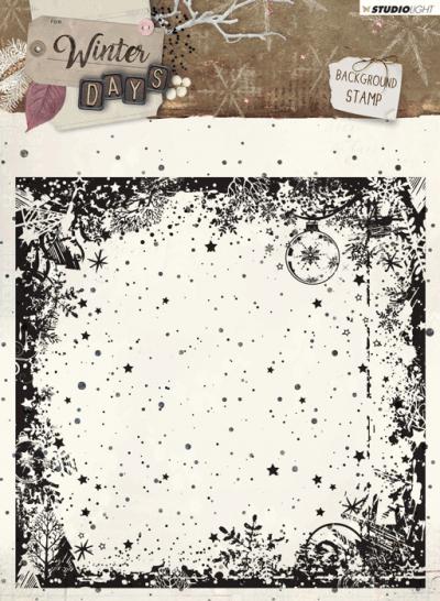 Winter days stempel 14x14cm nr 314 achtergrond sterren en bomen