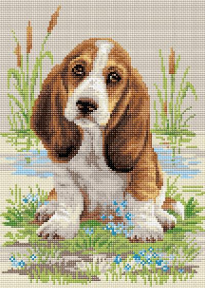 Diamond mosaic basset hound puppy