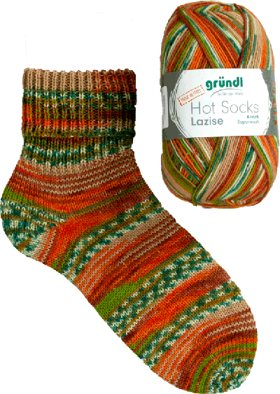 Sokkenwol Hot Socks Lazise oranje groen