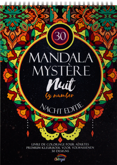 Kleurboek mandalas mysterie op nummer nachteditie