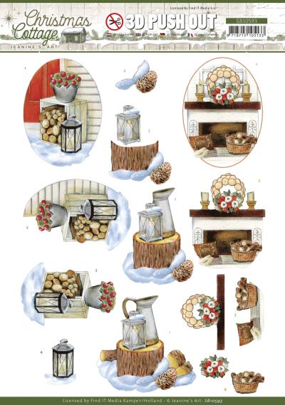 Christmas Cottage 3D push out wood decorations van Jeanine's Art