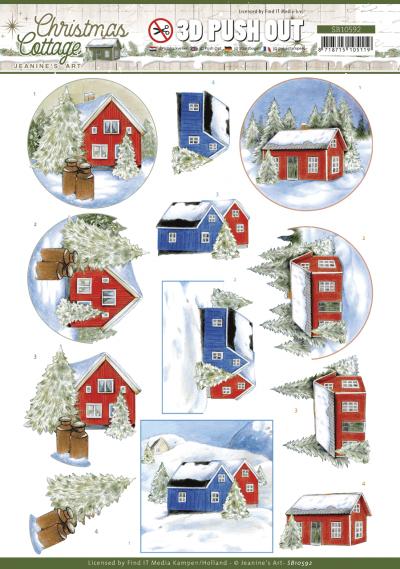 Christmas Cottage 3D push out winter cottage