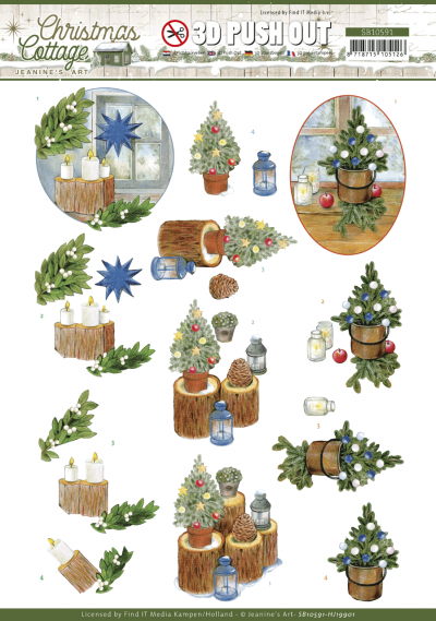 Christmas Cottage 3D push out blue decorations