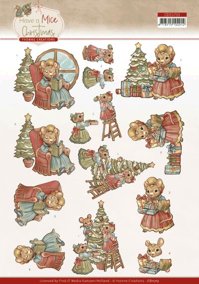 Have a mice Christmas 3D knipvelset decorating/ Christmas carol van Yvonne Creations