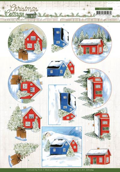 Christmas Cottage 3D knipvelset wood decorations/winter cottage van Jeanine's Art.