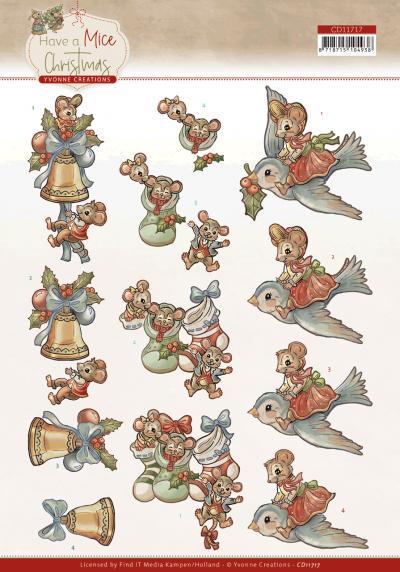 Have a mice Christmas 3D knipvelset Christmas socks/sending christmas cards van Yvonne Creations