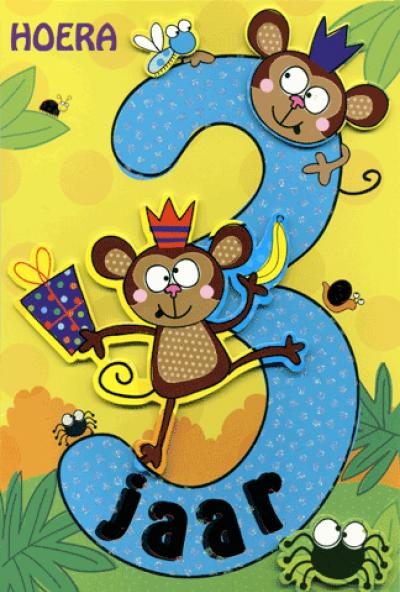 Kaart Hoera 3 jaar 2 apen Luxe uitgestanste kaart met glitter en folie