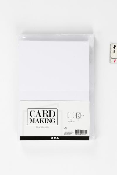 pakket kaarten met enveloppen wit 50st 10,5x15cm