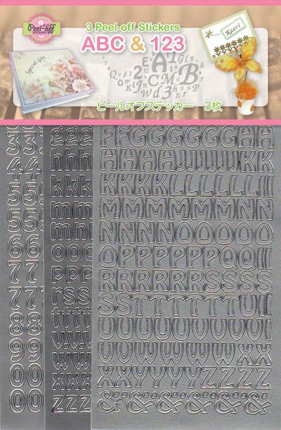 ABC & 123 Peel off stickers set 1 zilver 3 vel