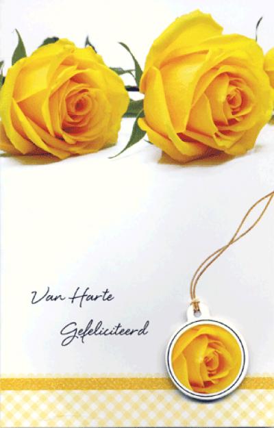 Kaart Van Harte Gefeliciteerd Gele Roos Wenskaart met glitter