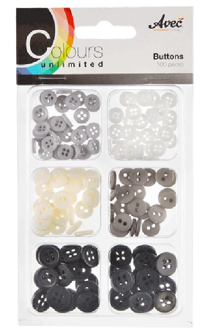 CU13 Buttons Zwart-Wit