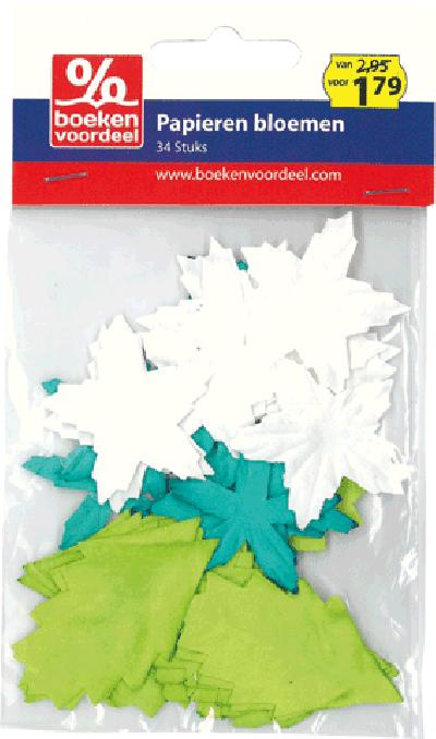 Papieren Bloemen Groen Zilver